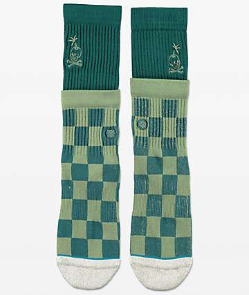 Stance Stacked Palm Green Crew Socks