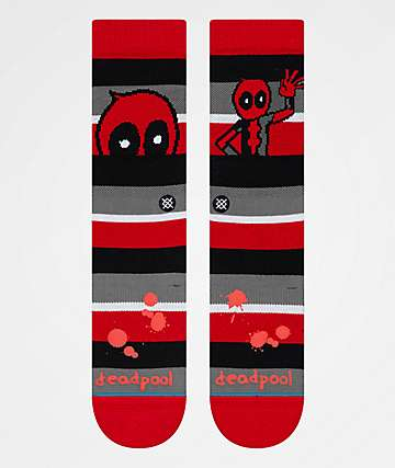 Stance x Deadpool Stripe Crew Socks