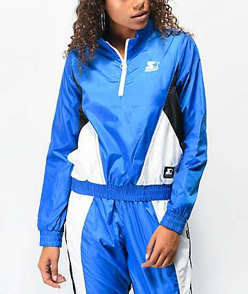 Starter Colorblock Blue Quarter Zip Crop Windbreaker Jacket