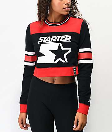 Starter Red & Black Colorblock Crop Long Sleeve T-Shirt