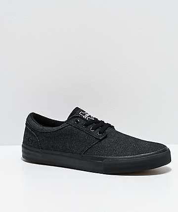 State Elgin Dallas Black Denim & Black Skate Shoes