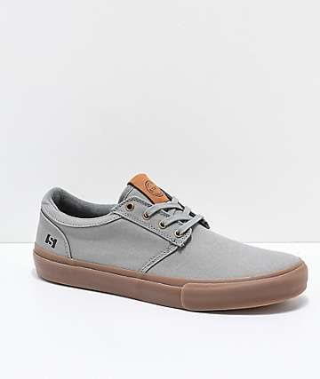 State Elgin Grey & Gum Canvas Skate Shoes