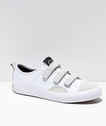 State Harlem Strap White Canvas and Suede Skate Shoes