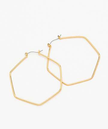 "Stone + Locket 2.25"" Hexagon Hoop Earrings"