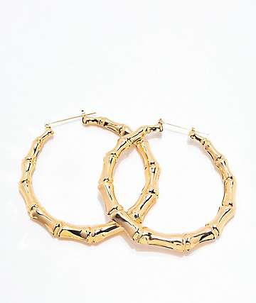 Stone + Locket Bamboo Gold Hoop Earrings