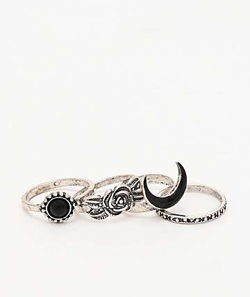 Stone + Locket Black Moon & Rose 4 Pack Metal Rings