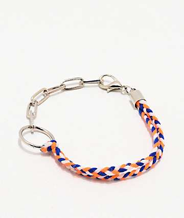 Stone + Locket Braided Orange & Blue Bracelet