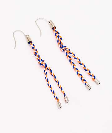 Stone + Locket Braided Orange & Blue Earrings
