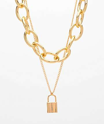 Stone + Locket Chunky Gold & Padlock 2 Pack Chain