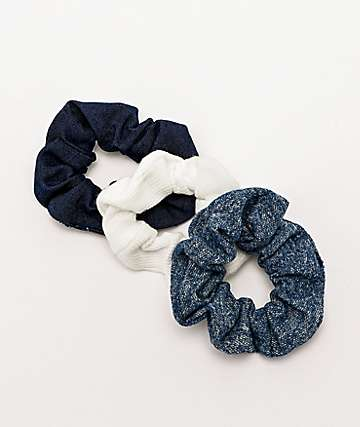 Stone + Locket Denim 3 Pack Scrunchies