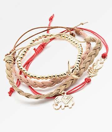 Stone + Locket Elephant, Braid & Feather Bracelet Pack