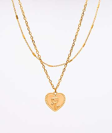 Stone + Locket Embossed Gold Heart Necklace
