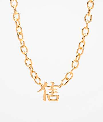 Stone + Locket Gold Kanji Trust Necklace