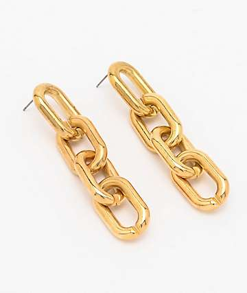 Stone + Locket Gold Link Chain Earrings
