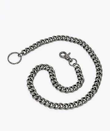 Stone + Locket Gunmetal Grey Wallet Chain