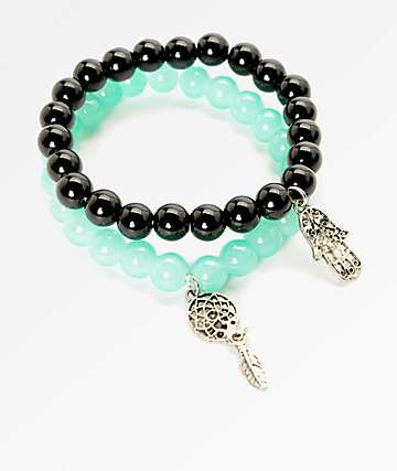 Stone + Locket Hamsa & Dreamcatcher Beaded Bracelet 2 Pack