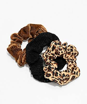 Stone + Locket Leopard, Corduroy & Mesh 3 Pack Scrunchies