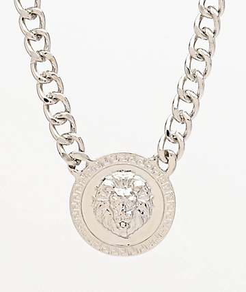 Stone + Locket Lion Medallion Silver Necklace
