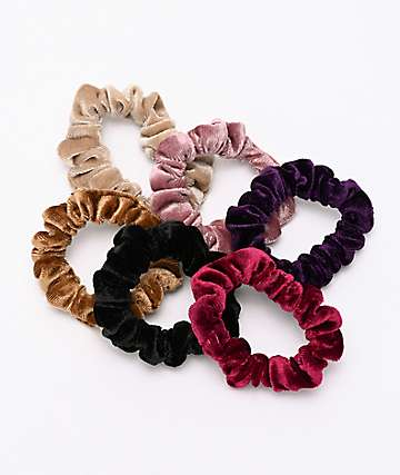 Stone + Locket Mini Velvet 6 Pack Scrunchies