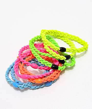 Stone + Locket Neon Braided Hair Ties