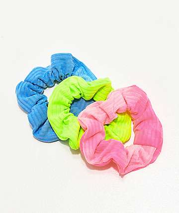 Stone + Locket Neon Pigment Blue, Green & Pink 3 Pack Scrunchies