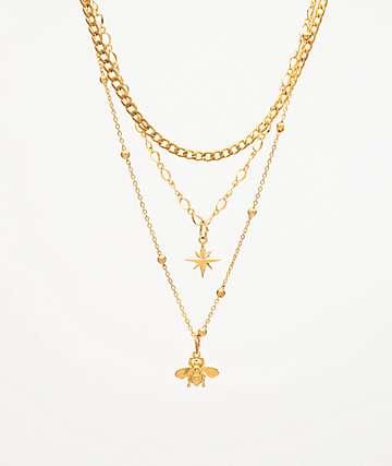 Stone + Locket North Bee paquete de 3 collares de oro