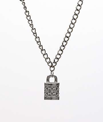 "Stone + Locket Padlock Gunmetal 24"" Necklace"