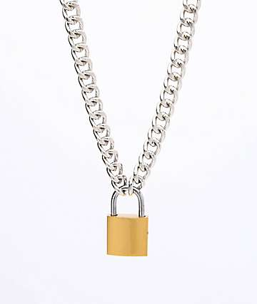 Stone + Locket Padlock Silver Necklace
