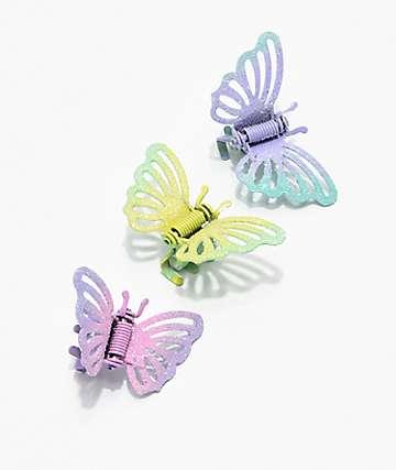 Stone + Locket Pastel Butterfly Clip Set