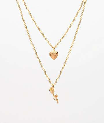 Stone + Locket Petite Rose & Heart Locket Gold Necklace