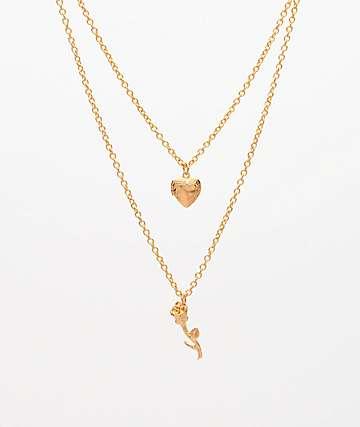 Stone + Locket Petite Rose & Heart collar con relicario de oro
