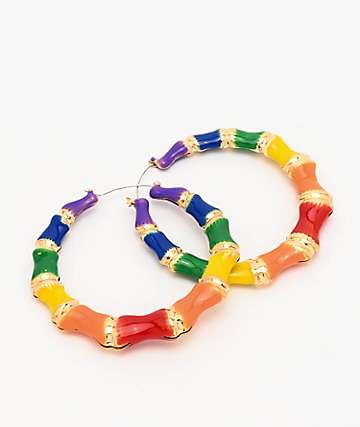 Stone + Locket Rainbow Bamboo Hoop Earrings