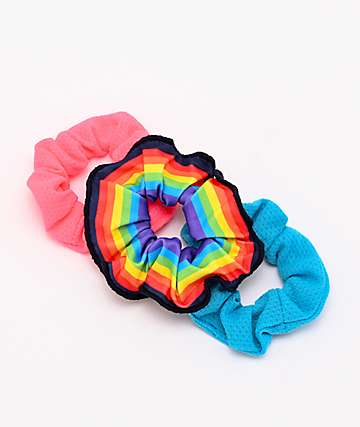 Stone + Locket Rainbow Mesh 3 Pack Scrunchies