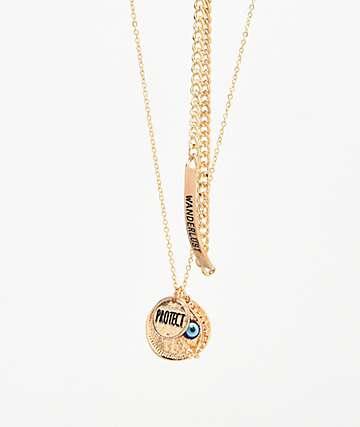 Stone + Locket Seeing Eye Gold Necklace & Bracelet 2 Pack