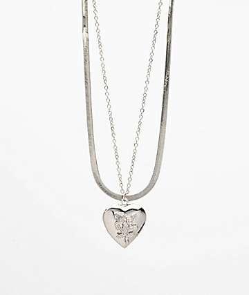 Stone + Locket Snake paquete de dos collares de medallón de plata
