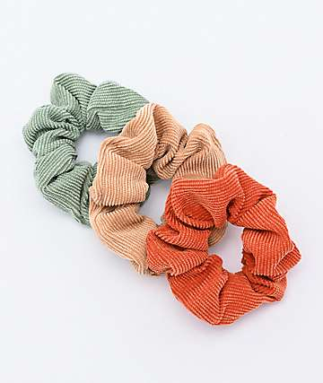 Stone + Locket Soft Cord 3 Pack Scrunchies