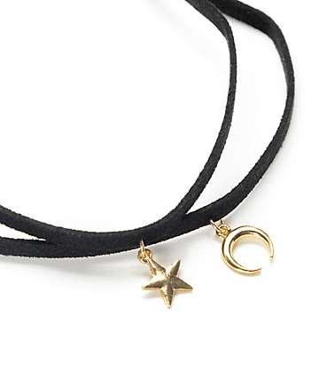 Stone + Locket Star & Crescent Black Suede Choker
