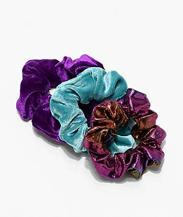 Stone + Locket Velvet & Metallic 3 Pack Scrunchies