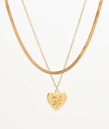 Stone + Locket paquete de 2 collares de medallón de serpiente