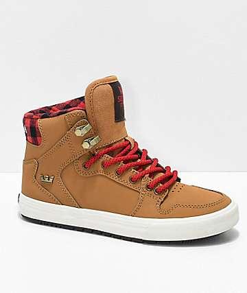 Supra Kids Vaider CW Bone Brown & Plaid Shoes