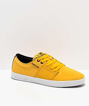 Supra Stacks II Vulc Caution Yellow, White & Black Skate Shoes