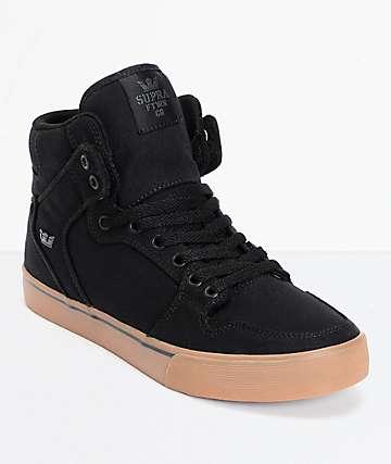 Supra Vaider Black Canvas & Gum Skate Shoes