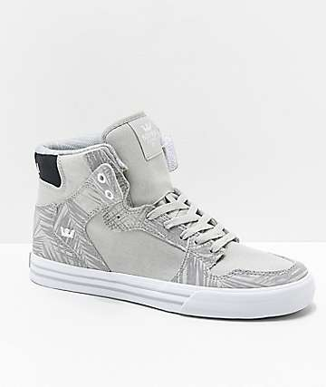 Supra Vaider Ferns Cool Grey, White, Suede & Canvas Skate Shoes