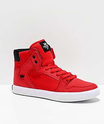 Supra Vaider Risk Red, Black & White Skate Shoes