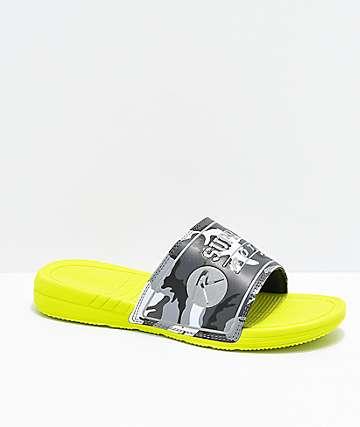 Supra x Rothco Locker Neon Green & Camo Slide Sandals