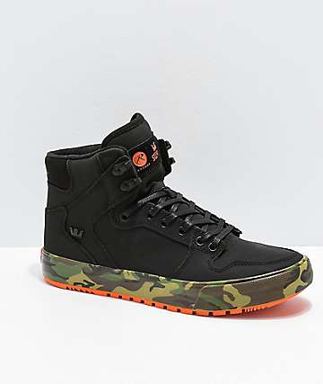 Supra x Rothco Vaider CW Black, Orange & Woodland Camo Shoes