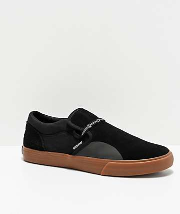 Supra x SHUT NYC Cuba Black & Gum Skate Shoes
