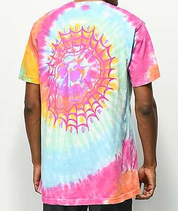 Swallows & Daggers Skull Web Multi Tie Dye T-Shirt