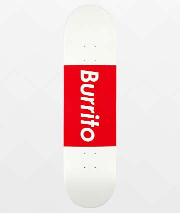 "Team Burrito Logo Grande White & Red 8.0"" Skateboard Deck"