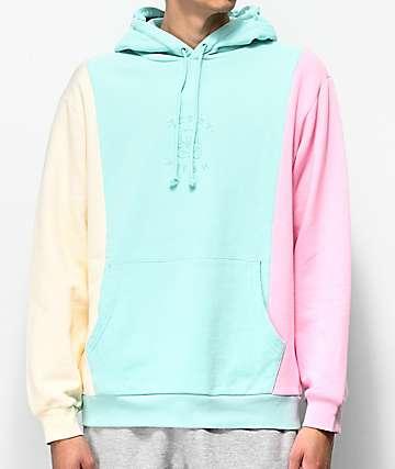 Teddy Fresh Colorblock sudadera con capucha pastel